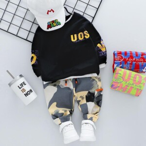 2-piece Fashion Letter Print Hoodies and Camouflage Pants