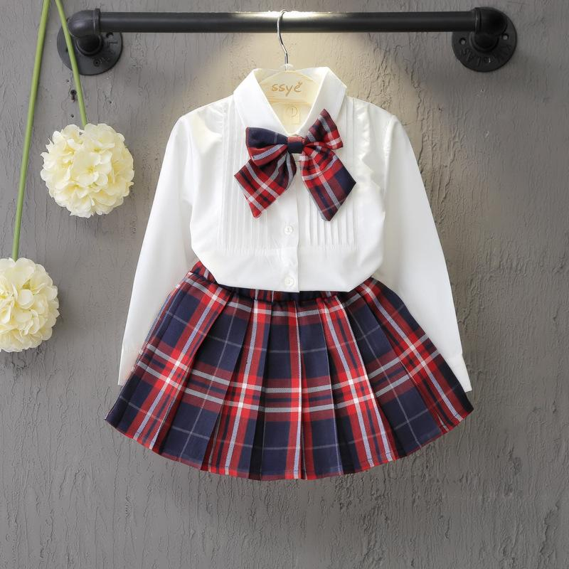 2-piece Bow Decor Blouse & Plaid Skirt for Toddler Girl