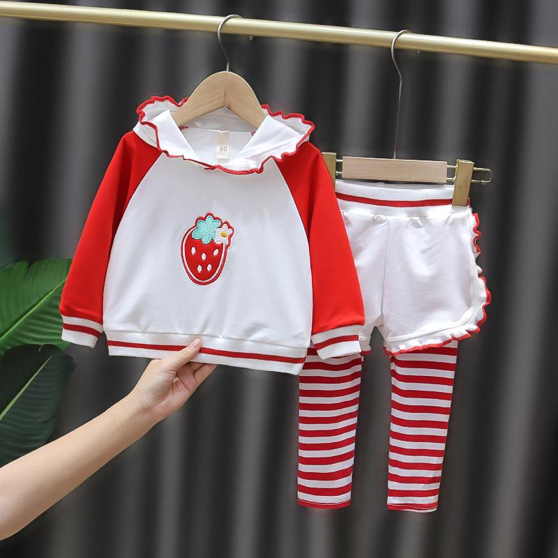 2-piece Strawberry Pattern Blouse & Pants for Toddler Girl