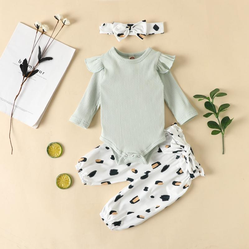 3-piece Solid Bodysuit & Leopard Pants & Headband for Baby Girl