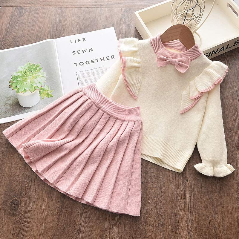 2-piece Solid Bow Decor Sweater & Skirt for Toddler Girl