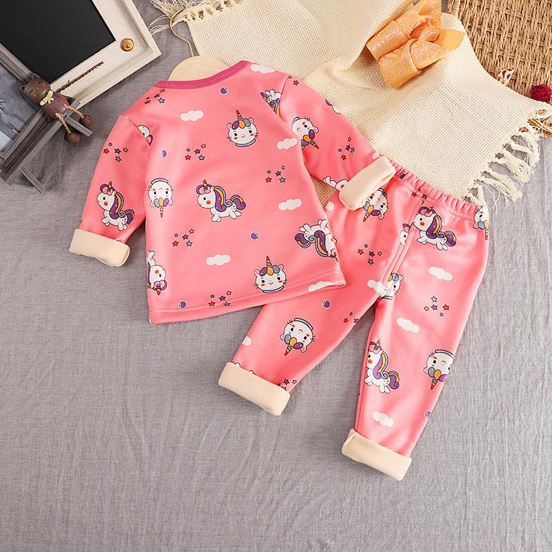 2-piece Cartoon Pattern Fleece-lined Pajamas Sets for Toddler Girl