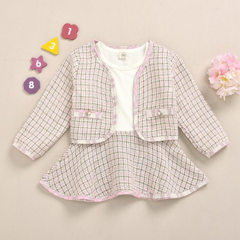 2-piece Plaid Dress Set for Toddler Girl