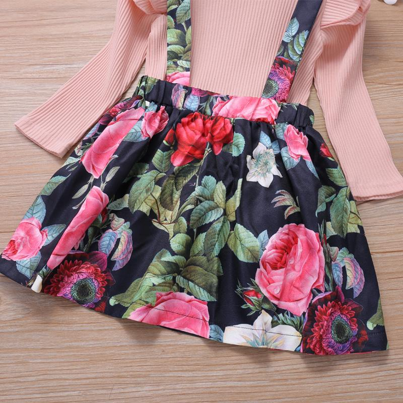 2-piece Floral Pattern Dress Set for Toddler Girl