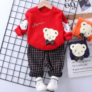 2-piece Bear Pattern Sweatshirts & Plaid Pants for Toddler Boy
