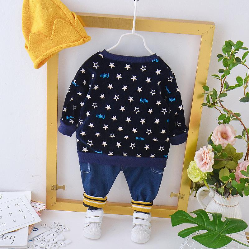 2-piece Star Pattern Fleece-lined Suit for Toddler Boy