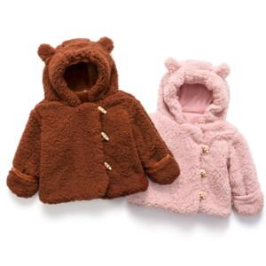 Bear Pattern Fleece-lined Puffer Jacket for Baby