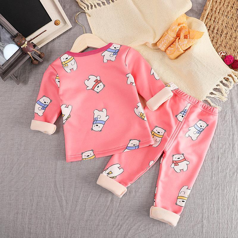 2-piece Cartoon Pattern Fleece-lined Pajamas Sets for Toddler Boy