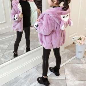 Cartoon Design Fleece-lined Coat for Girl
