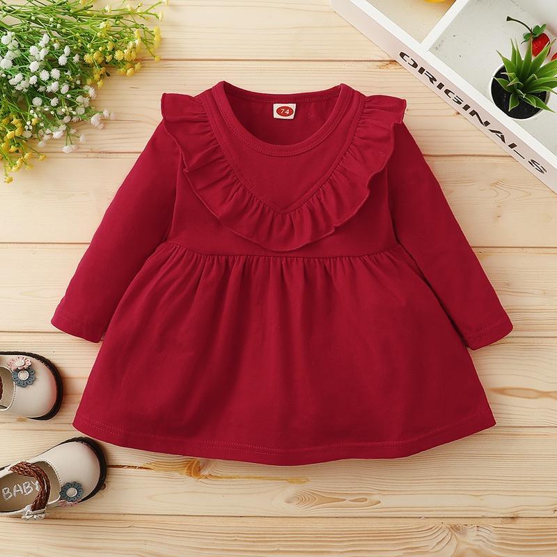 Ruffle Crimson Dress for Baby Girl