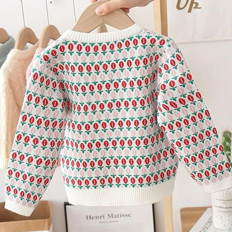 Floral Printed Sweater Knit Cardigan for Girl