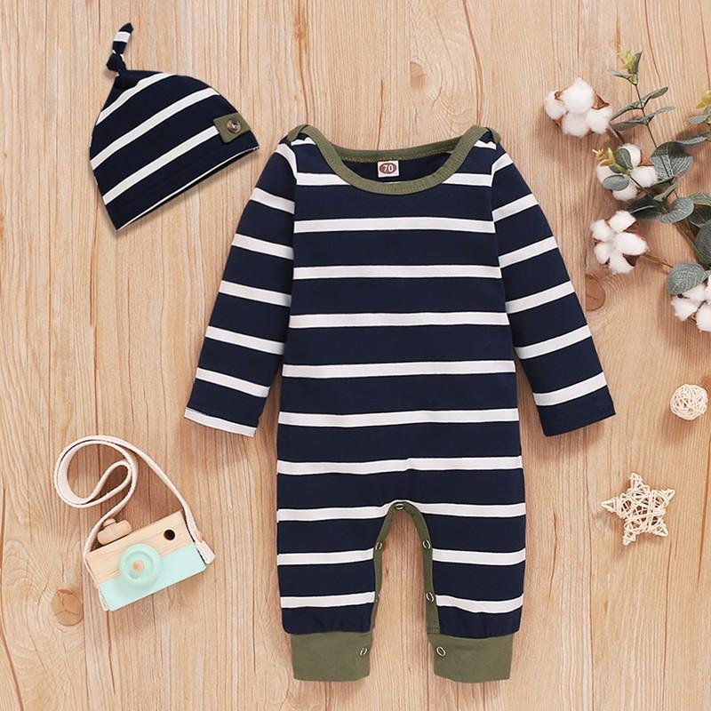 2-piece Striped Jumpsuit & Hat for Baby Boy