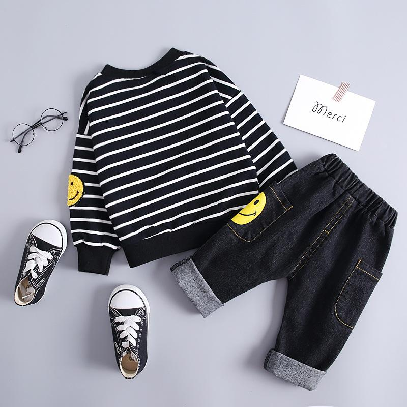 2-piece Letter Pattern Striped Sweatshirts & Jeans for Toddler Boy