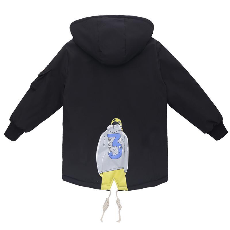 Cartoon Pattern Duffle Coat for Boy