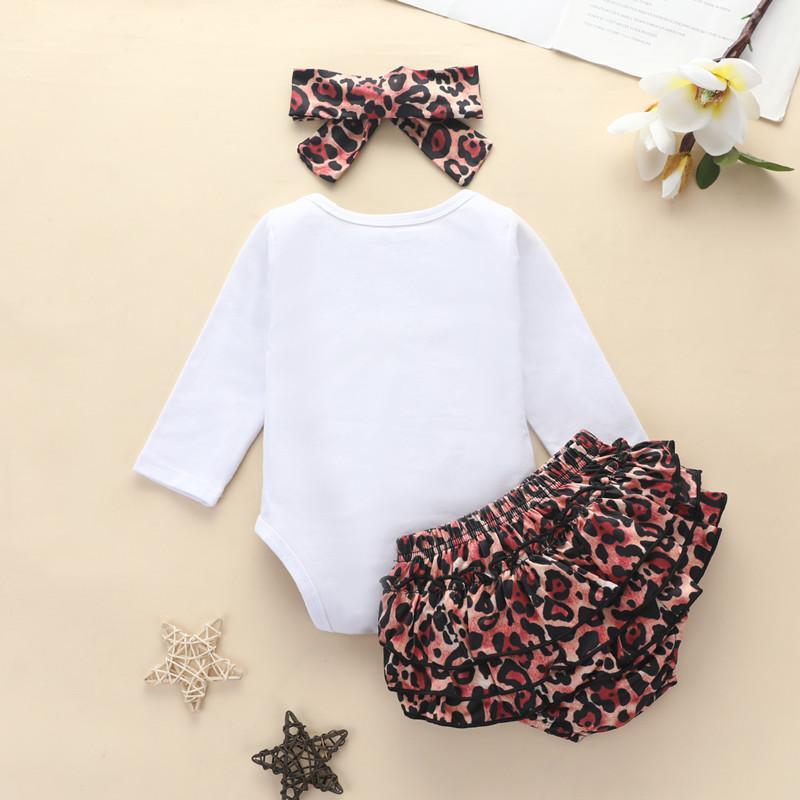 3-piece Letter Pattern Bodysuit & Shorts & Headband for Baby Girl