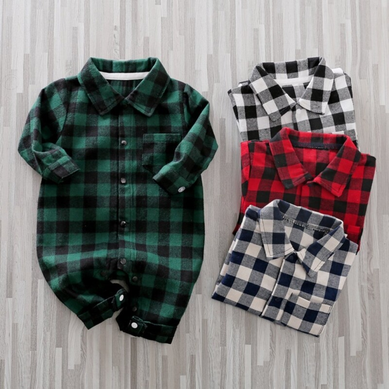 Boys Checkered Gentleman Jumpsuit for Baby Clothing Wholesale
