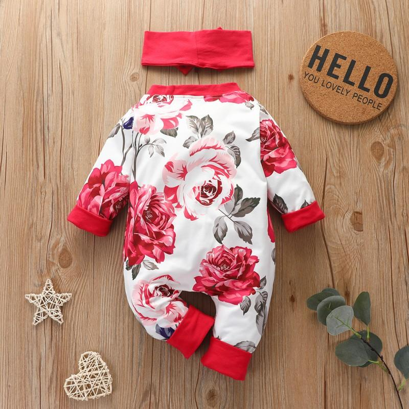 2-piece Floral Printed Jumpsuit & Headband for Baby Girl