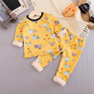 2-piece Cartoon Pattern Fleece-lined Pajamas Sets for Toddler Boy
