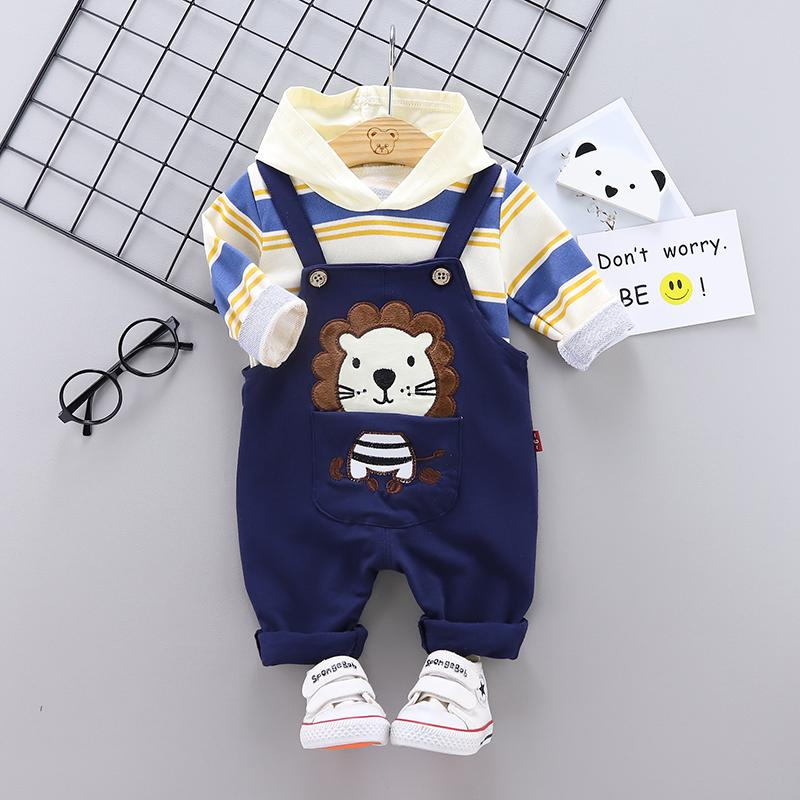 2-piece Striped Hoodie & Denim Dungarees for Toddler Boy