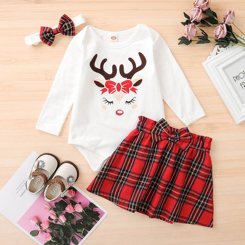 3-piece Deer Pattern Bodysuit & Skirt & Headband for Baby Girl