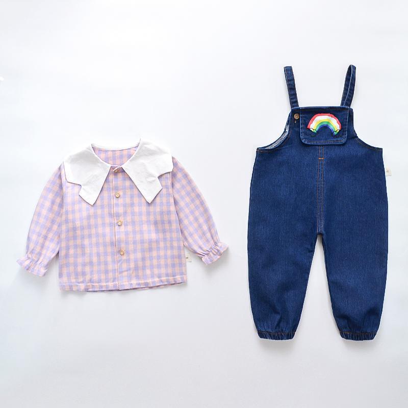 2-piece Lapel Collar Plaid Blouse & Denim Overalls for Toddler Girl