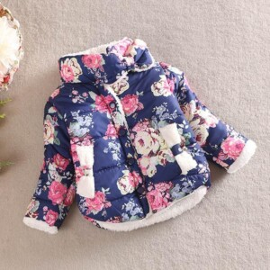 Floral Pattern Thicken Coat for Toddler Girl