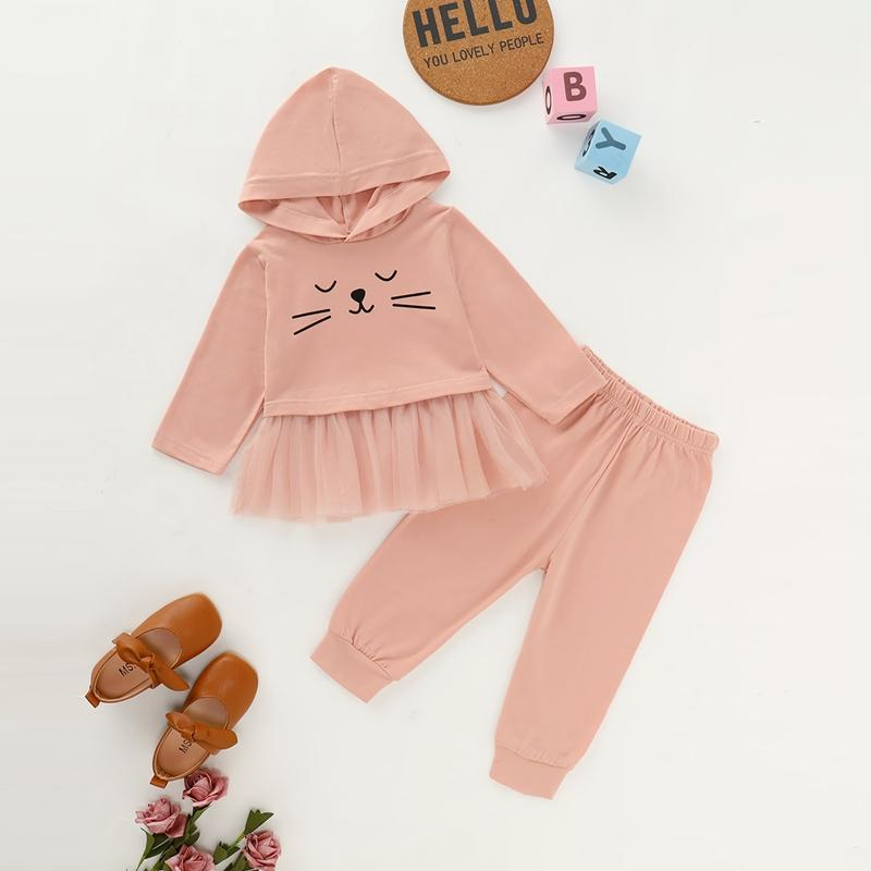 2-piece Cat Pattern Hoodie & Pants for Baby Girl