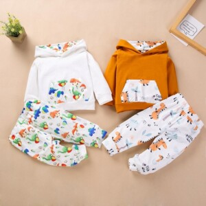 2-piece Cartoon Design Hoodie & Pants for Baby