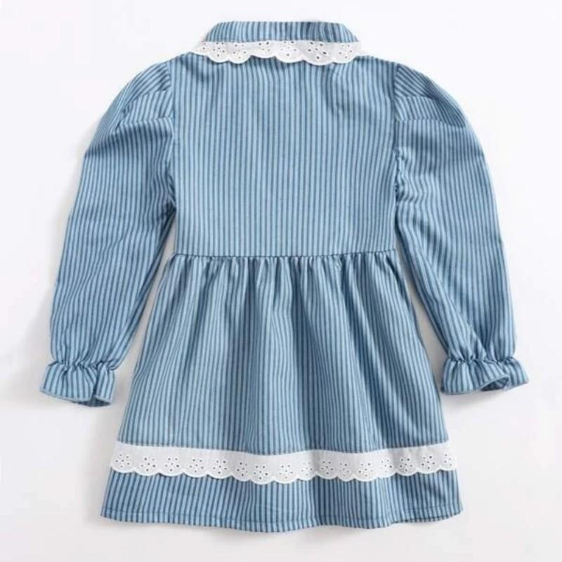 Elegant Striped Lace Dress for Toddler Girl