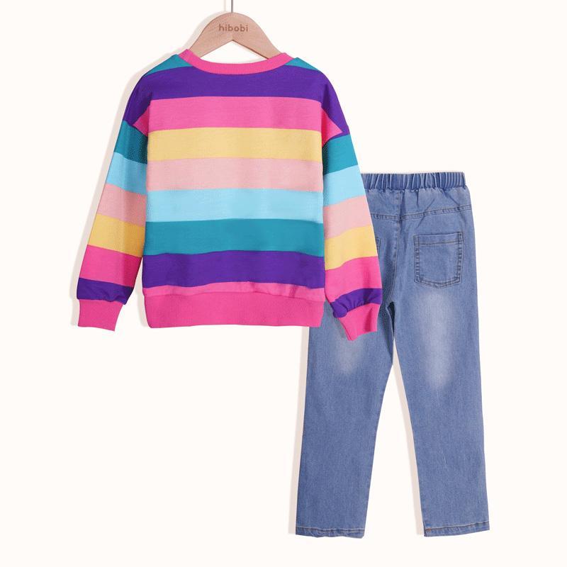 2-piece Rainbow Striped Sweatshirt & Jeans for Girl
