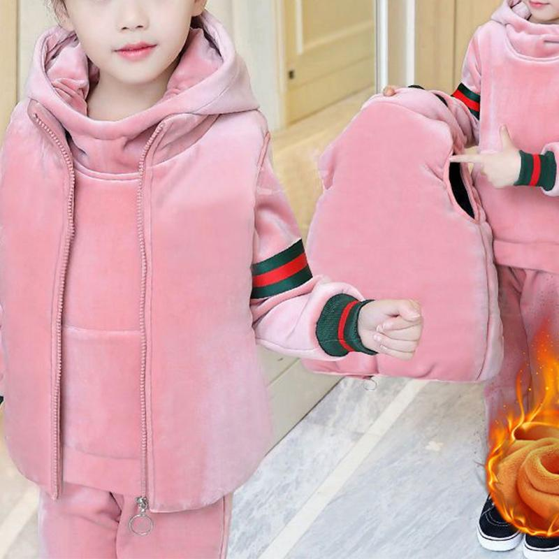3-piece Stripes Pattern Extra Thick Suit for Girl