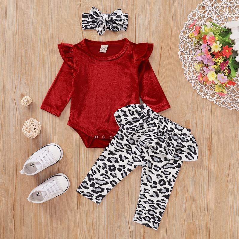 3-piece Solid Ruffle Bodysuit & Pants & Headband for Baby Girl