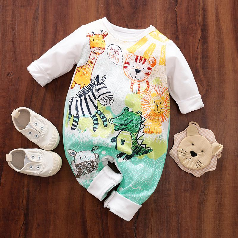 Baby's Jumpsuit with Cartoon Animals Patterns