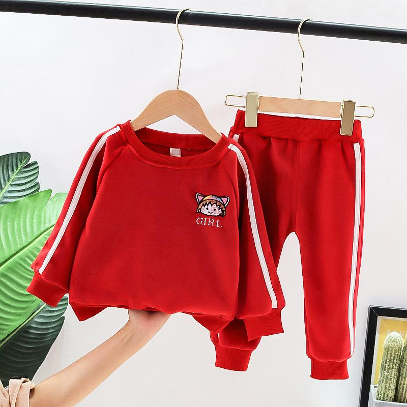 2-piece Cartoon Pattern Extra Thick Suit for Toddler Girl