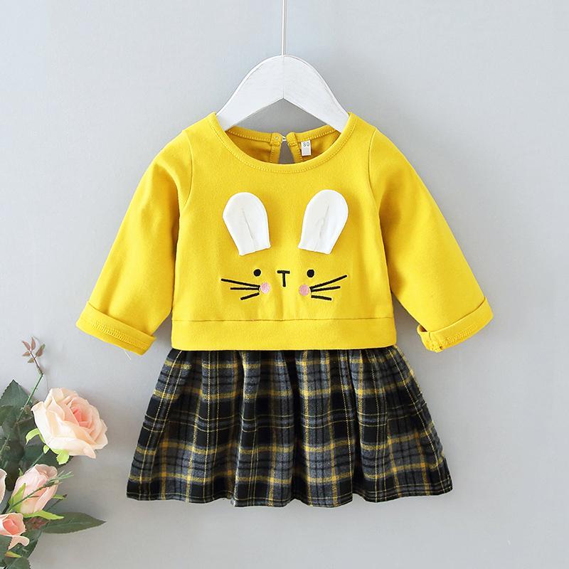 Cartoon Design Plaid Dress for Toddler Girl
