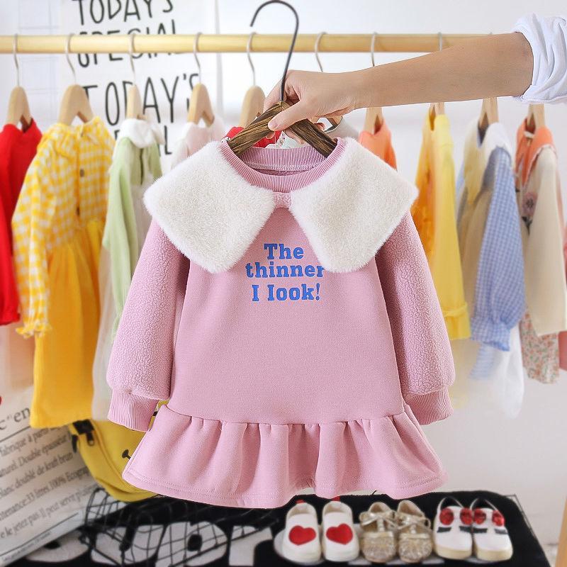 Letter Pattern Fleece-lined Dress for Toddler Girl