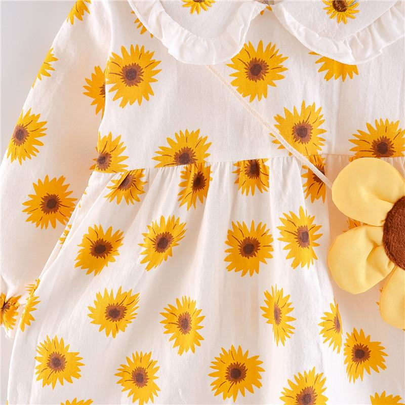 Sunflower Printed Dress for Toddler Girl