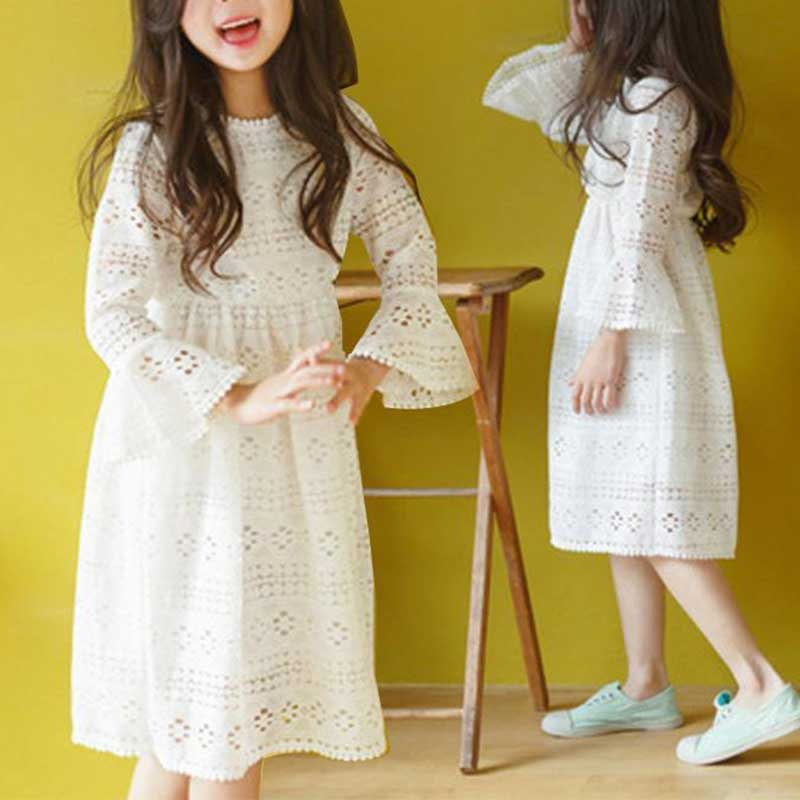 Solid Color Lace Dress for Girl