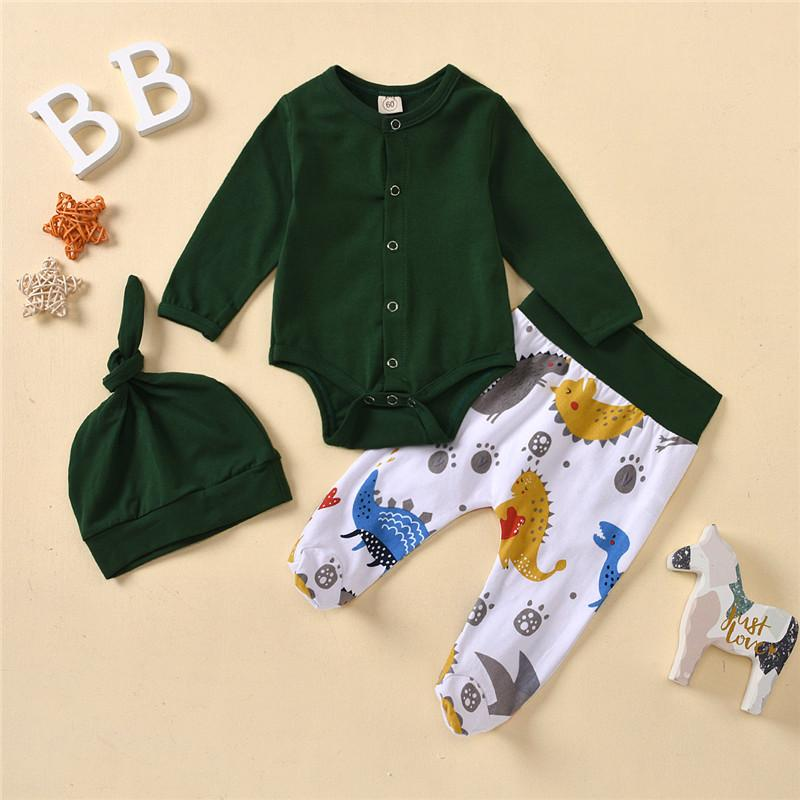 3-piece Romper & Dinosaur Pattern Pants & Hat for Baby Boy