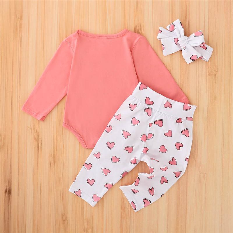 3-piece Romper & Heart-shaped Pattern Pants & Headband for Baby Girl
