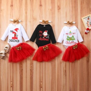 3-piece Mesh Christmas Dress Set for Baby Girl