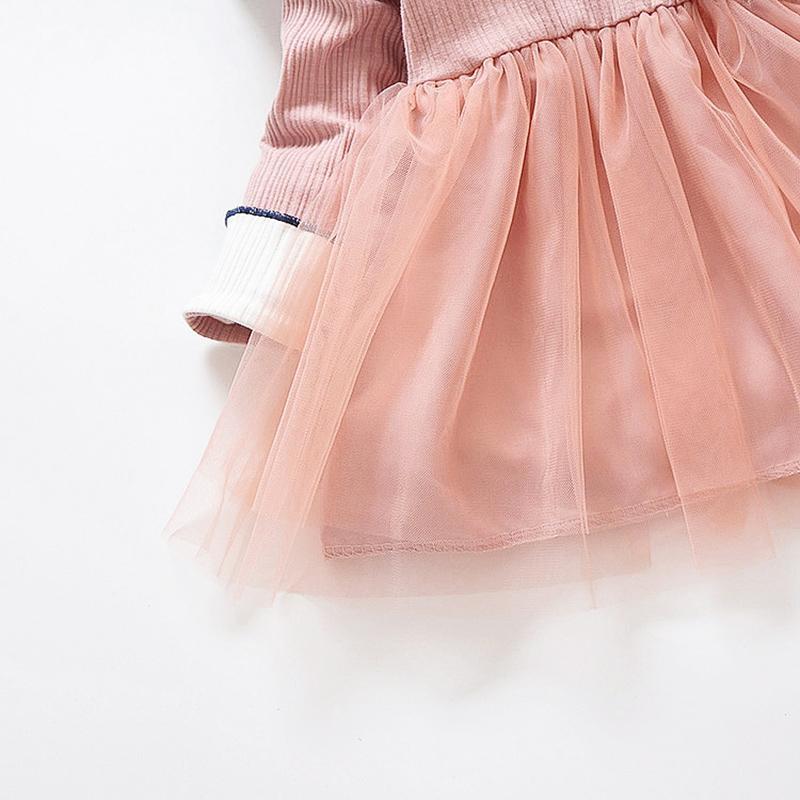 Net Yarn Patchwork Knitted Long-sleeve Dress