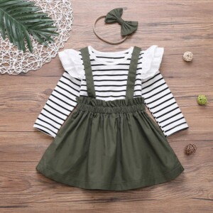 3-piece Ruffle Striped Tops & Strap Dresses & Headband for Toddler Girl