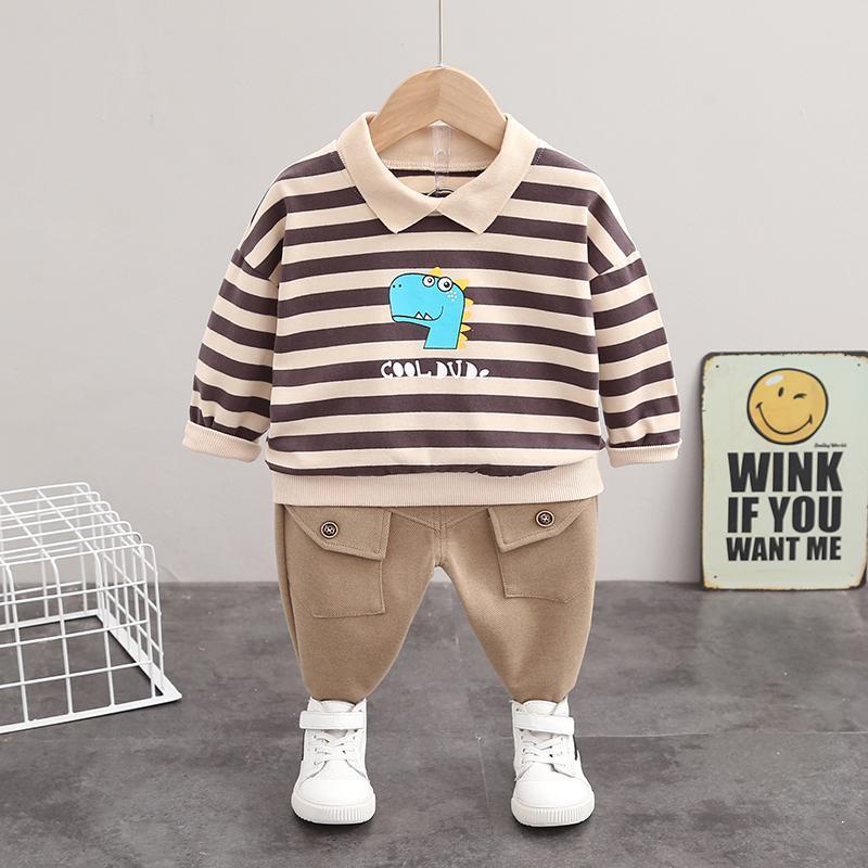 2-piece Dinosaur Pattern Striped Sweatshirt & Pants for Toddler Boy