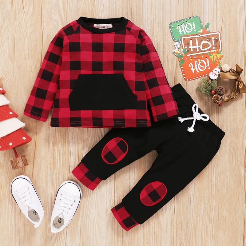 2-piece Plaid Tops & Pants for Baby