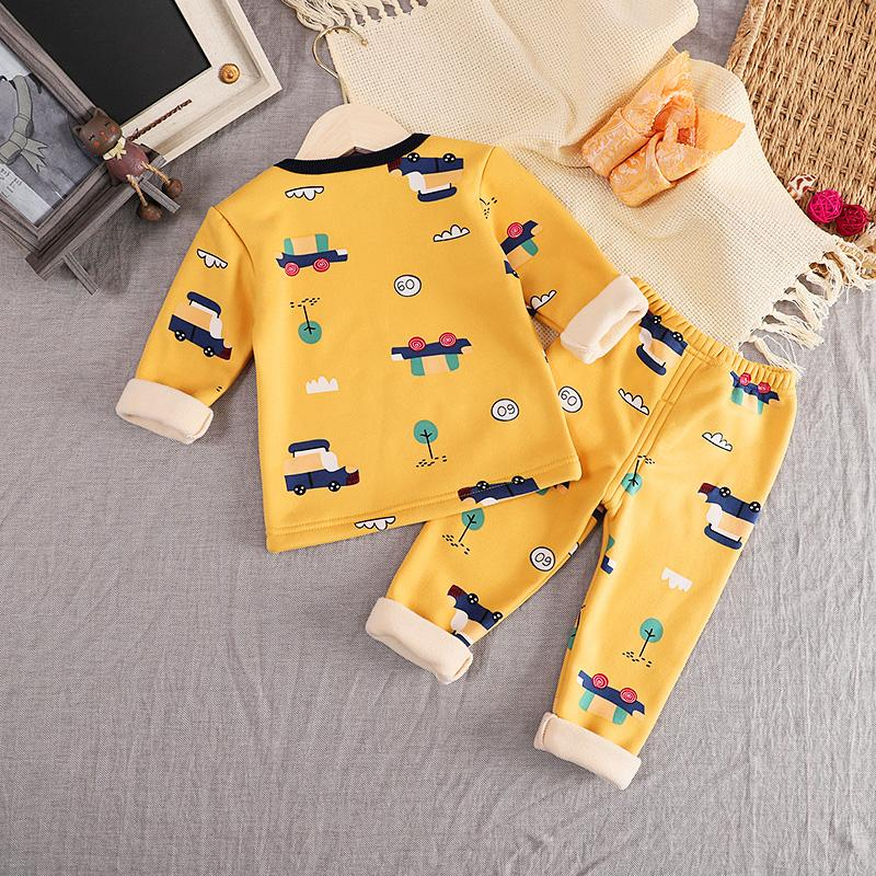 2-piece Fleece-lined Pajamas Sets for Toddler Boy