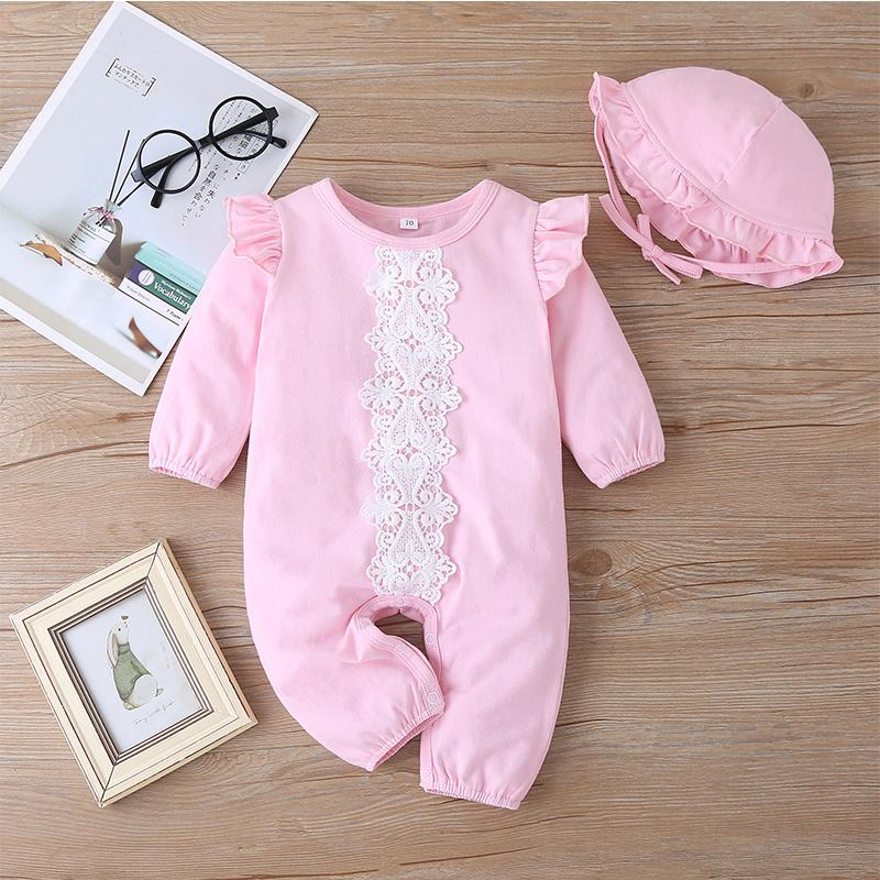 2-piece Solid Ruffled Longs-sleeve Jumpsuit with Hat