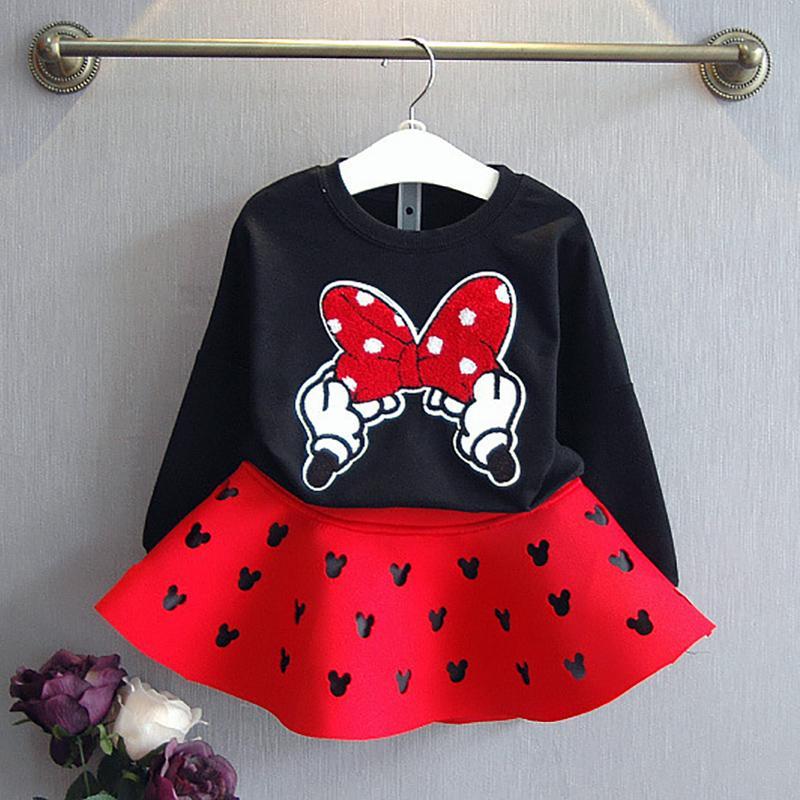 2-piece Cartoon Pattern Dress Set for Toddler Girl