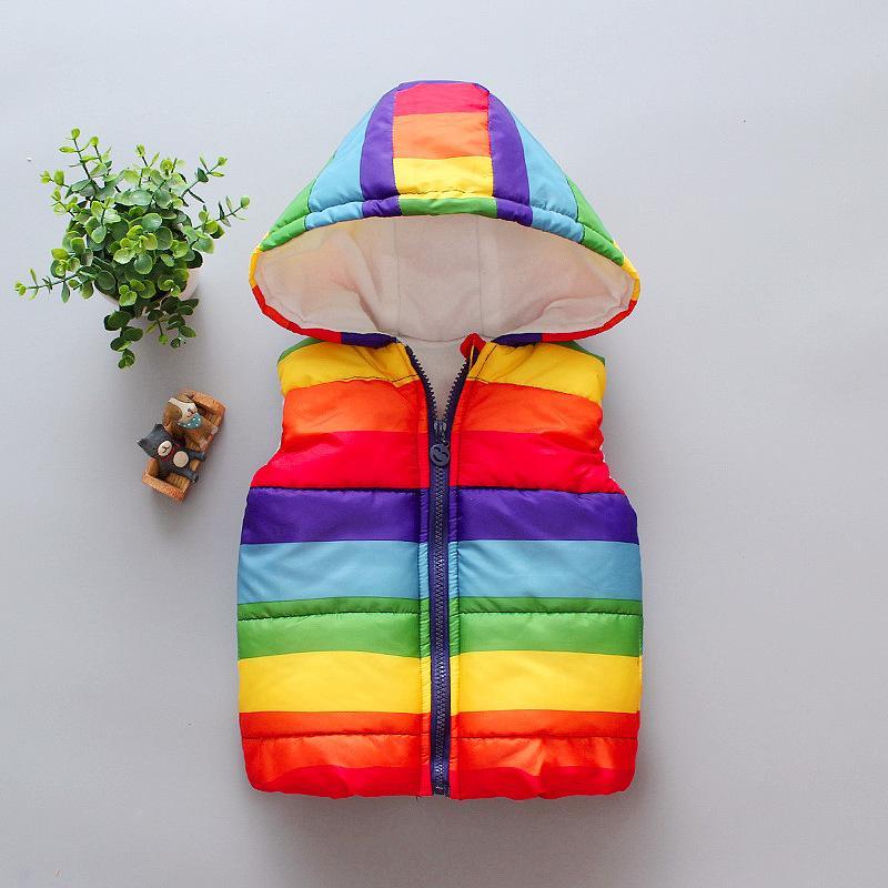 Rainbow Pattern Gilet for Toddler Girl