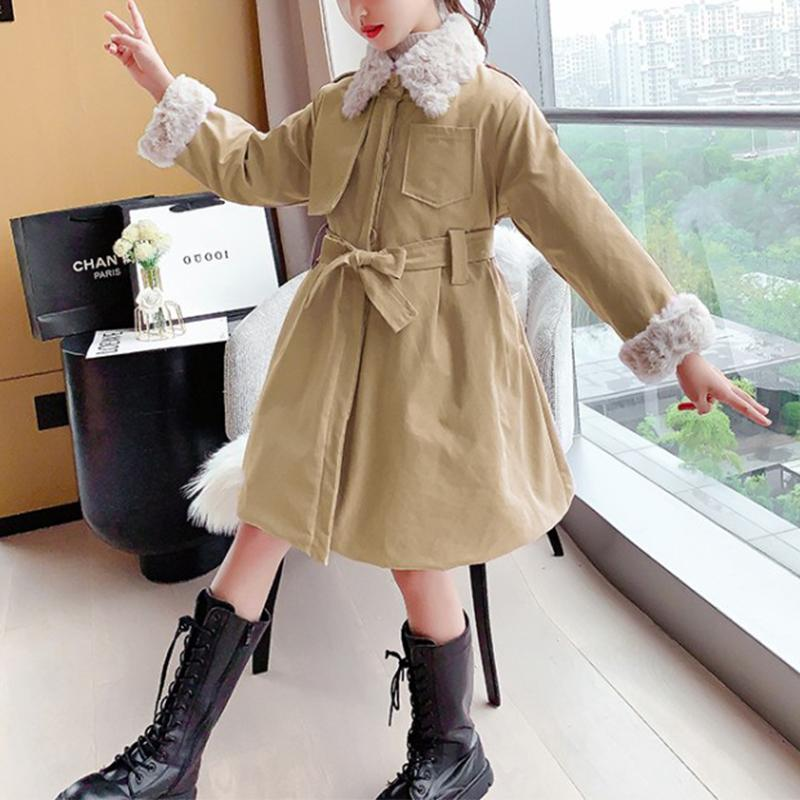 Solid Pattern Cotton Duffle Coat for Girl